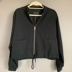Who What Wear Crepe Black Bomber Jacket